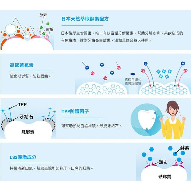 日本獅王固齒佳酵素淨護牙膏功效