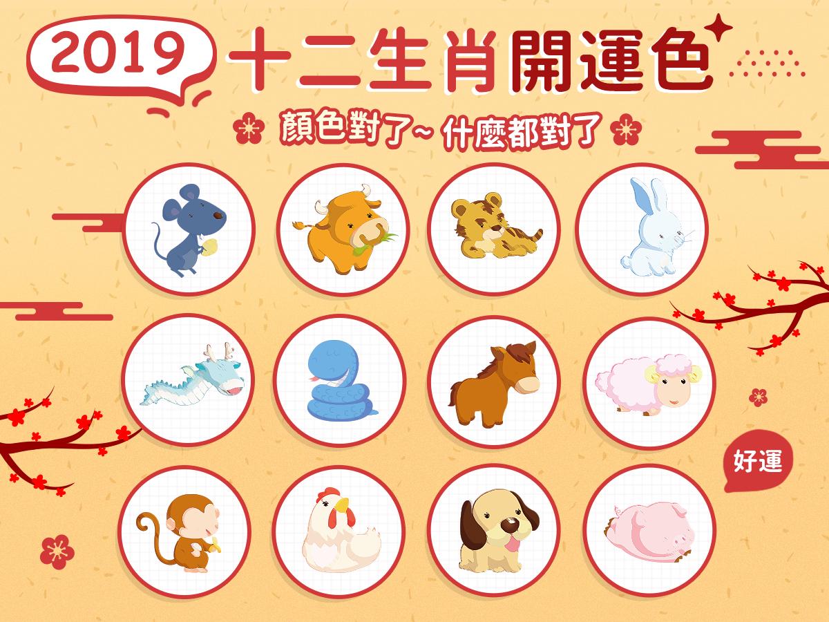 2019開運色 十二生肖