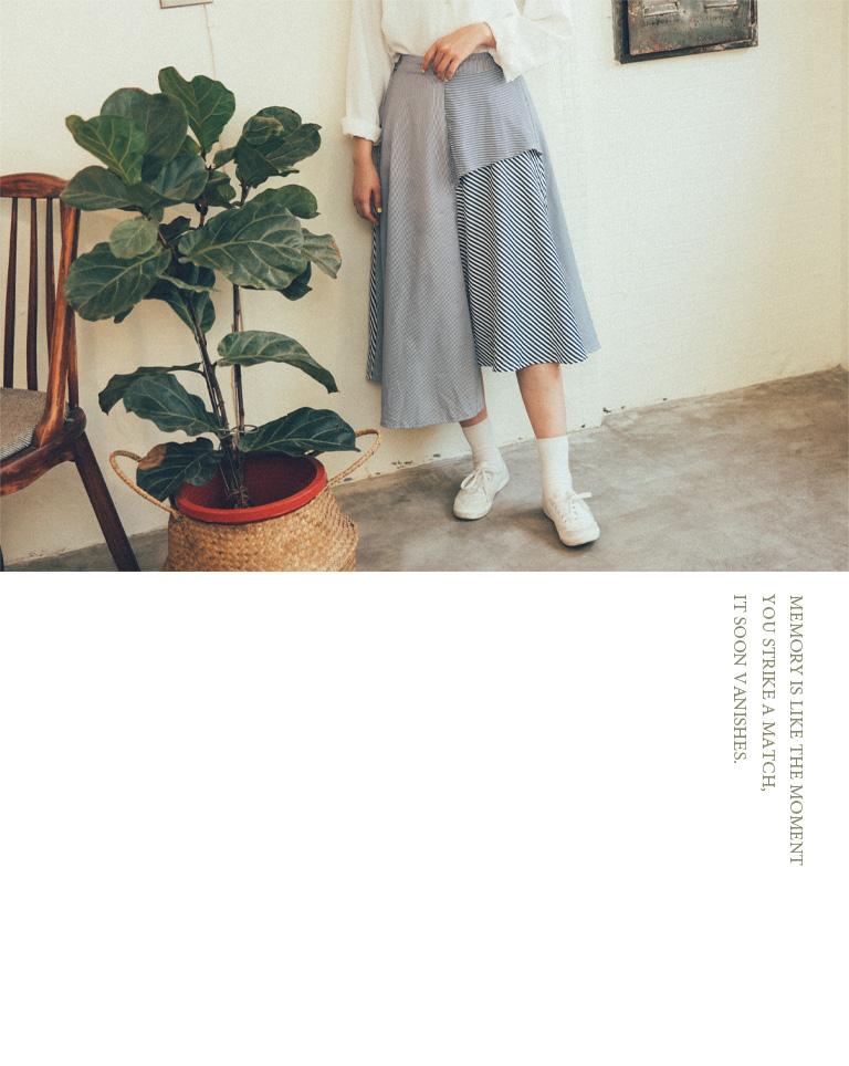 QUEENSHOP|清新配色條紋拼接造型長裙