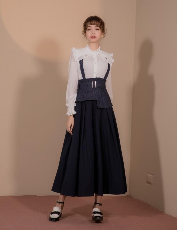 Marjorie瑪喬麗|拼接不規則吊帶裙