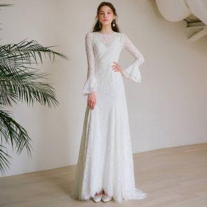 法式赫本風蕾絲輕婚紗