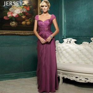 紫紅色包肩長款禮服