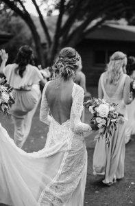 復古裸色波西米亞風格露背蕾絲輕婚紗