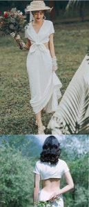 超仙簡約緞面韓式輕婚紗小禮服